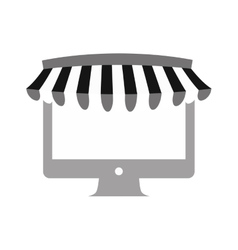 Internet store shopping computer gray color vector