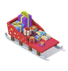 isometric christmas sleigh vector image
