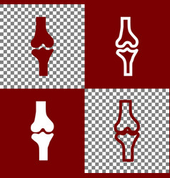 Knee joint sign bordo and white icons and vector