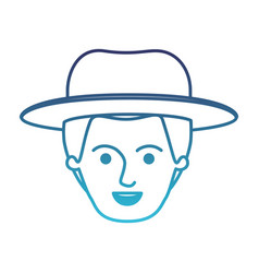 Male face with hat and short hair in degraded blue vector