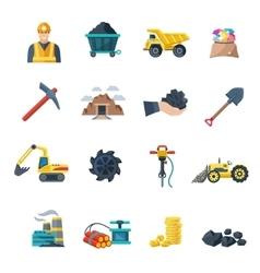 Mining icons flat vector