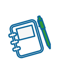 Notebook and pen icon vector