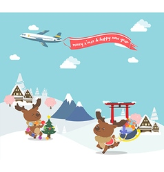 Reindeer enjoy christmas travel in asia vector