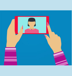 self woman shot on the phone vector image vector image