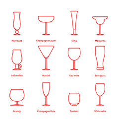 set of red thin line stemware vector image vector image