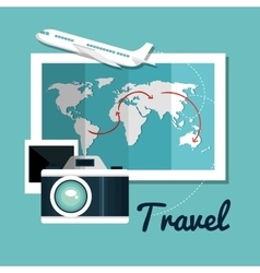 set travel map camera airplane design vector image