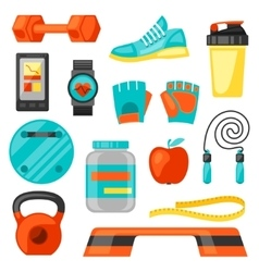 Sports and healthy lifestyle fitness icons set vector image