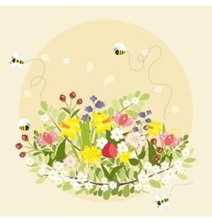 Spring Flowers Lovely Beautiful Bee Cartoon vector image
