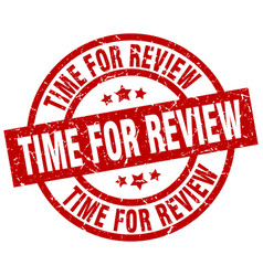 Time for review round red grunge stamp vector