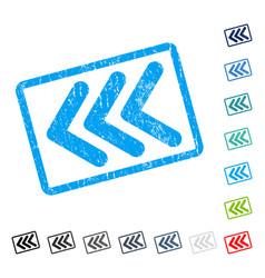Triple arrowhead left icon rubber watermark vector
