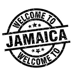 Welcome to jamaica black stamp vector