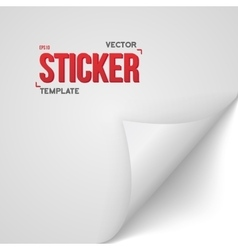 White Paper Sticker Bended Page Sticker vector image vector image