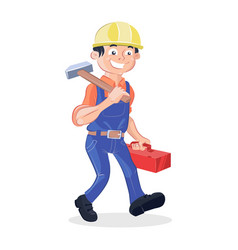 worker holding a hummer and a box tools vector image vector image