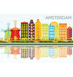 Abstract amsterdam skyline with color buildings vector