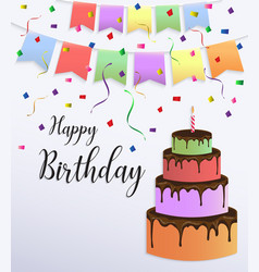 Happy birthday card design with colorful big cake vector