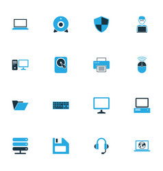 Hardware colorful icons set collection of laptop vector