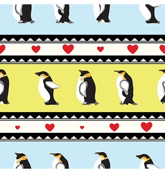 Penguin heart background vector
