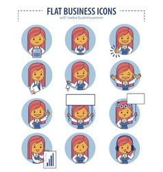 Set of flat business icons with businesswomen vector