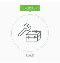 Repair toolbox icon wrench key sign vector