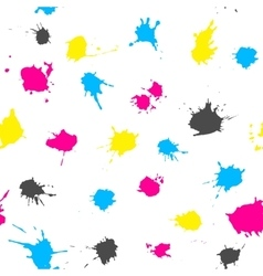 Cmyk ink splashes seamless pattern vector