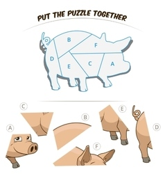 Puzzle game for children pig vector