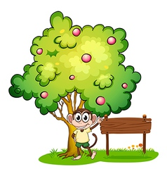 A monkey under the tree beside the empty wooden vector image