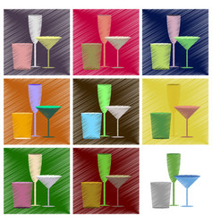 assembly flat shading style icons cocktail vector image vector image