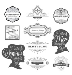 Barber shop labels and logos vector