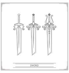 Bevelled Fantasy Sword Lineart vector image