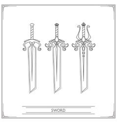 Bevelled fantasy sword lineart vector