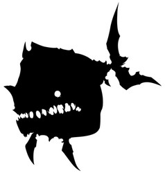 black graphic silhouette big monster fish vector image