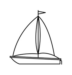 black silhouette of sailboat icon vector image