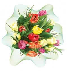 bunch of tulips vector image vector image