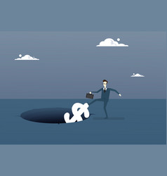 business man putting dollar in hole economic fail vector image vector image