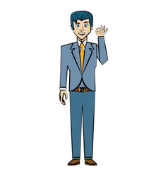 cartoon man business suit posture vector image