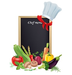 Chef menu board and vegetables vector image