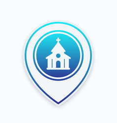 church catholic temple icon on mark vector image