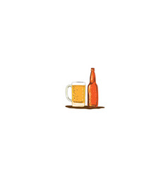 Craft beer bottle and mug watercolor vector