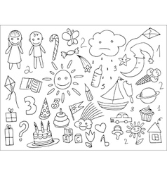 Doodle set of objects from a childs life vector