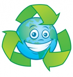 earth cartoon with recycle symbol vector image vector image