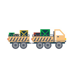 Freight truck with trailer isolated icon vector