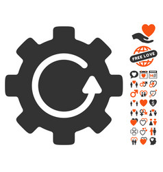 gear rotation icon with valentine bonus vector image vector image