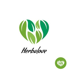Heart logo with herbal green leaves Natural vector image vector image