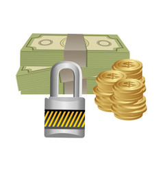 Many cash money with padlock security vector