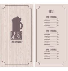 menu with beer mug vector image vector image