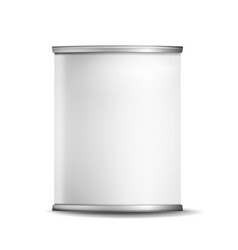 Metal tin box can 3d realistic empty vector