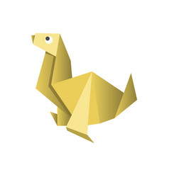 Paper origami dog isolated on white picture vector