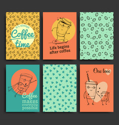 Postcards template set hand drawn coffee vector