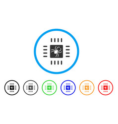 processor bug rounded icon vector image