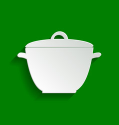 Saucepan simple sign paper whitish icon vector